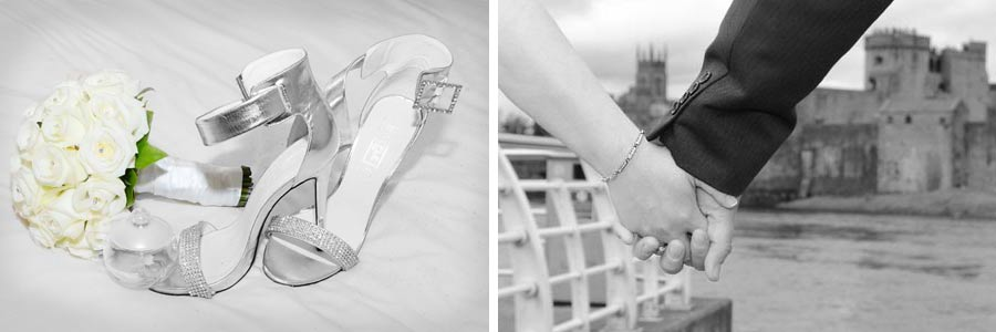 example of photos taken by Joe Diggins Wedding Photographer Limerick photo on left is of brides shoes and bouquet ,photo close up of couple holding hands with king Johns castle in the background